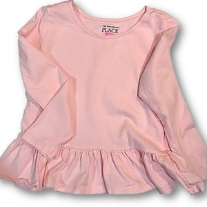 Pink long sleeve ruffle accent top 4T
